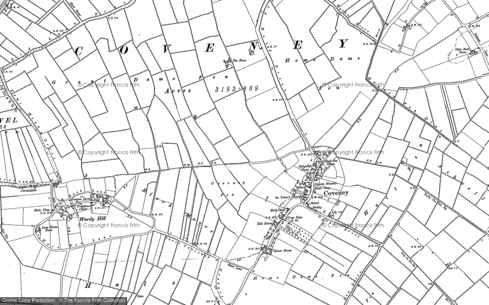 Old Map of Historic Map covering Ashwell Moor in 1885