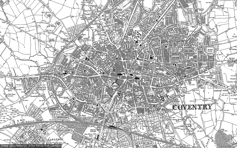 Map Of Coventry Map of Coventry, 1887   Francis Frith Map Of Coventry
