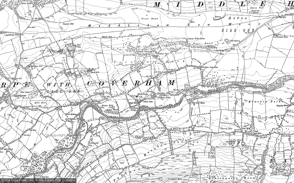 Old Map of Historic Map covering Ashgill in 1891