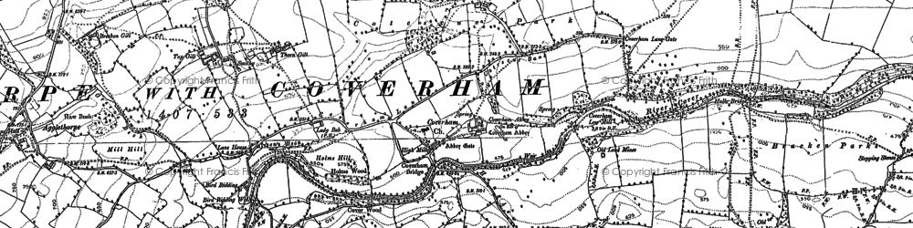 Old map of Coverham in 1891