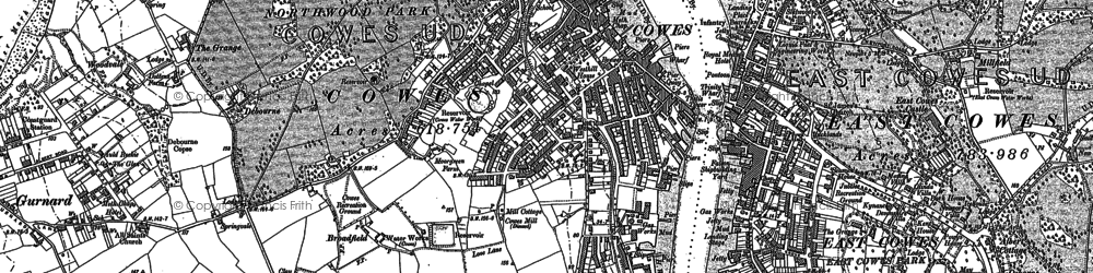 Old map of Cowes in 1896