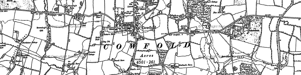 Old map of Allfreys in 1896