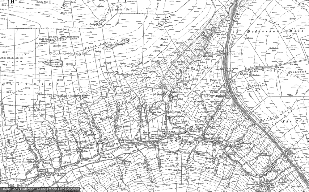 Old Map of Historic Map covering Aye Gill Wold in 1907