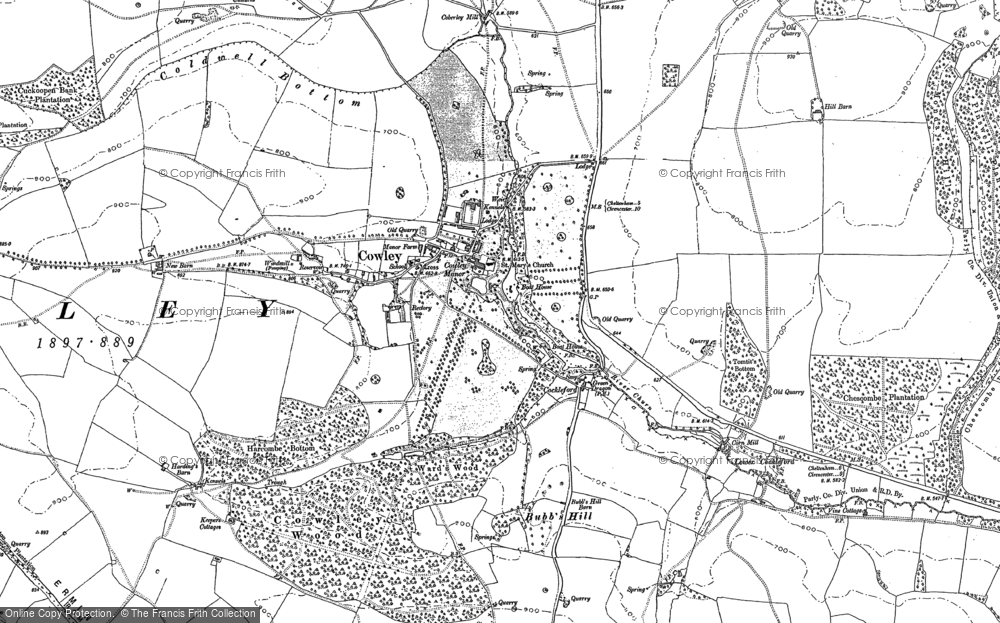 Old Map of Historic Map covering Tomtit's Bottom in 1883