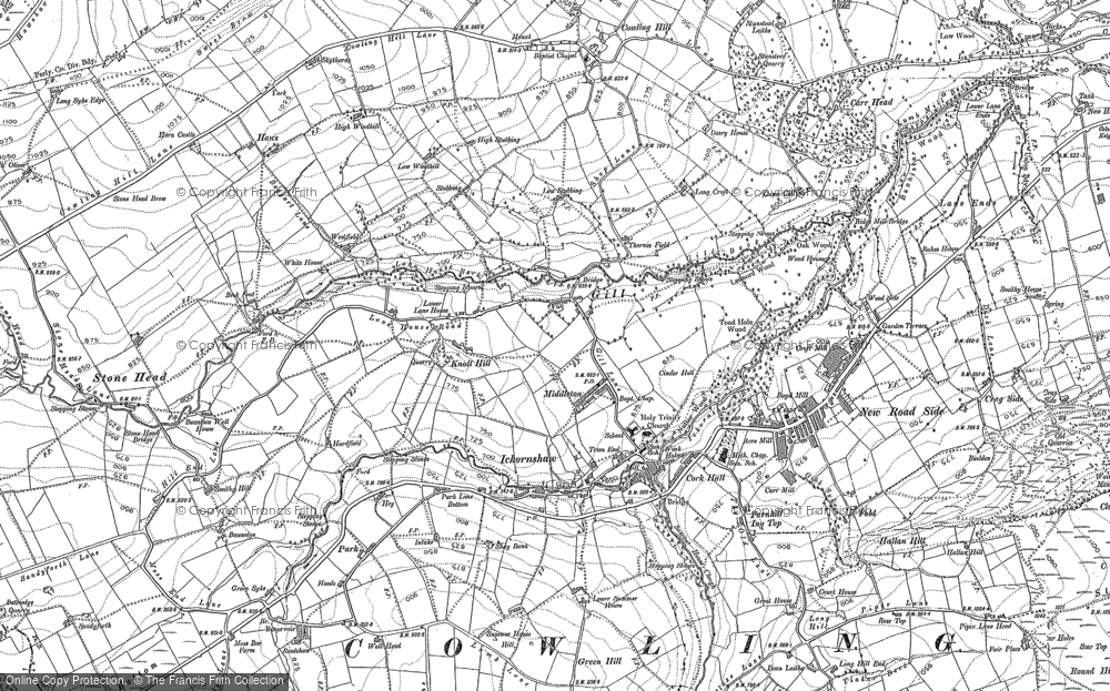 Old Map of Cowling, 1889 - 1907 in 1889