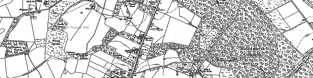Old map of Cowplain in 1907