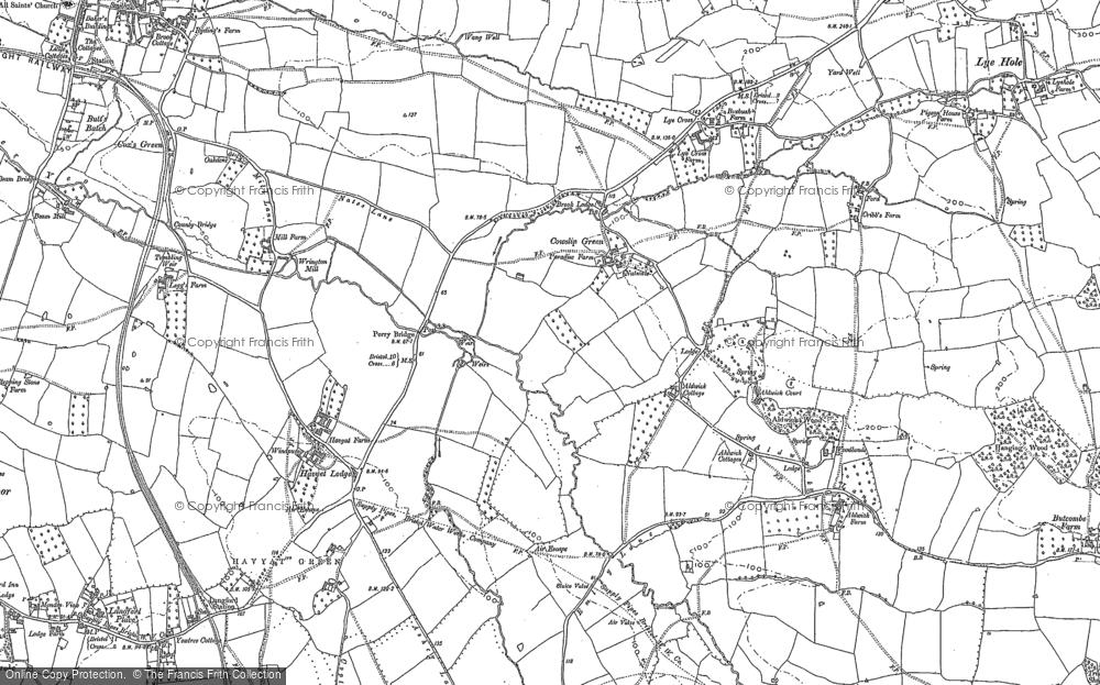 Old Map of Historic Map covering Aldwick Court in 1883