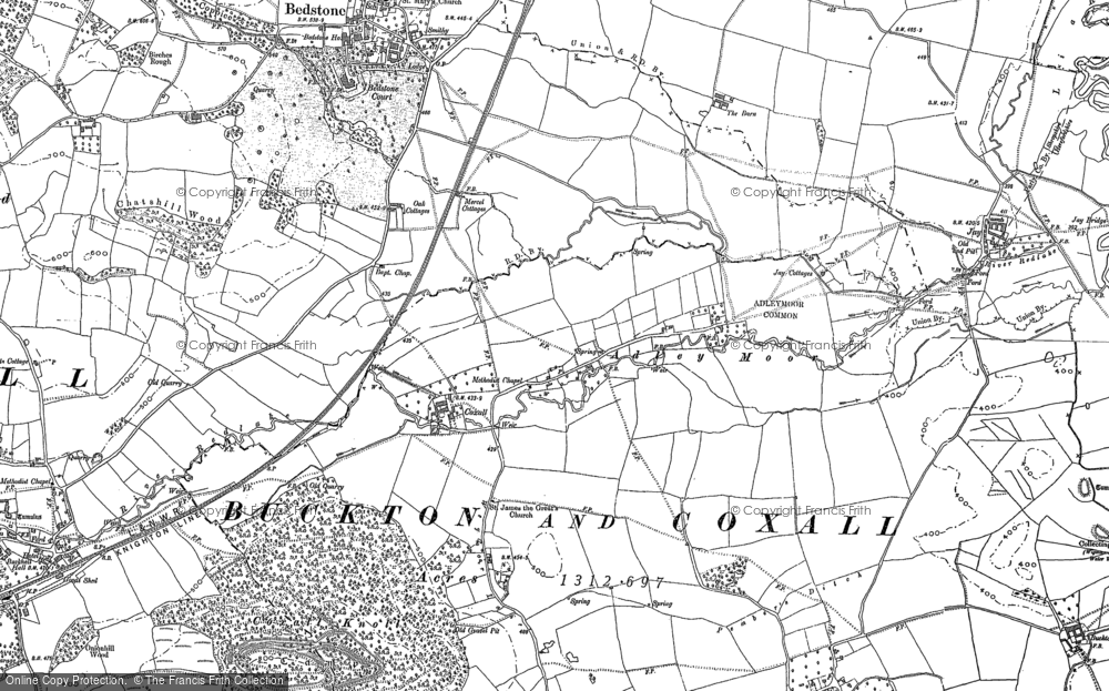 Old Map of Historic Map covering Adley Moor in 1902