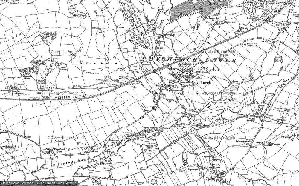 Old Map of Coychurch, 1897 - 1914 in 1897