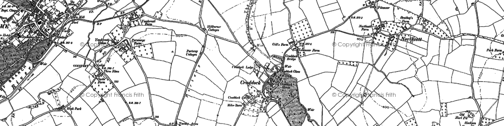 Old map of Yondercott in 1887