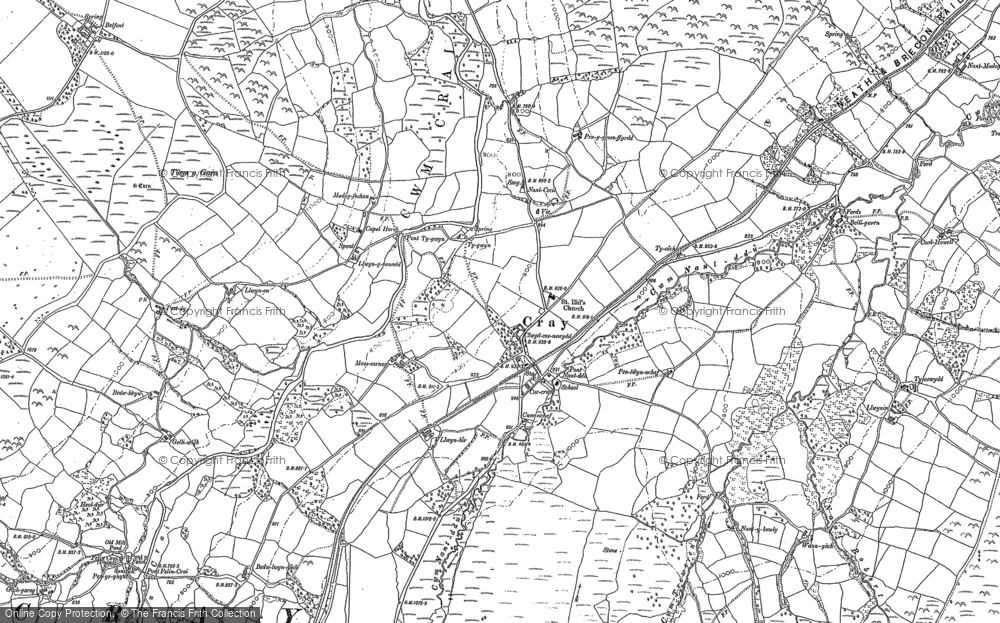 Old Map of Historic Map covering Aberhyddnant in 1884