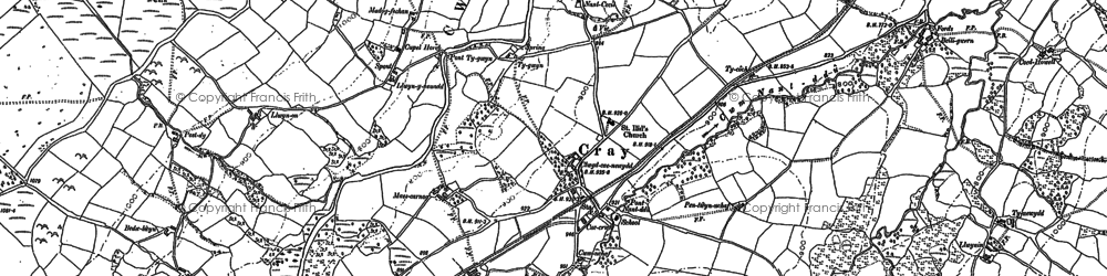 Old map of Aberhyddnant in 1884