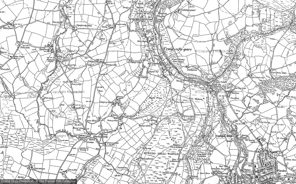 Old Map of Historic Map covering Allt-y-fanog in 1897
