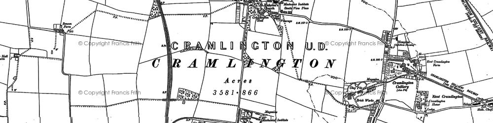 Old map of Cramlington in 1895