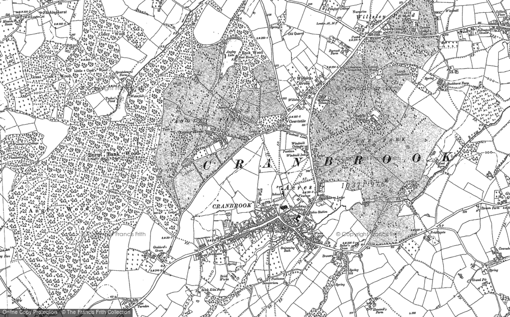 Old Map of Historic Map covering Baker's Cross in 1907