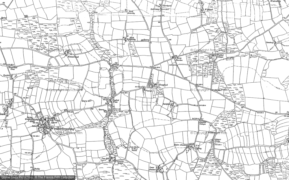 Old Map of Historic Map covering Alminstone Cross in 1884