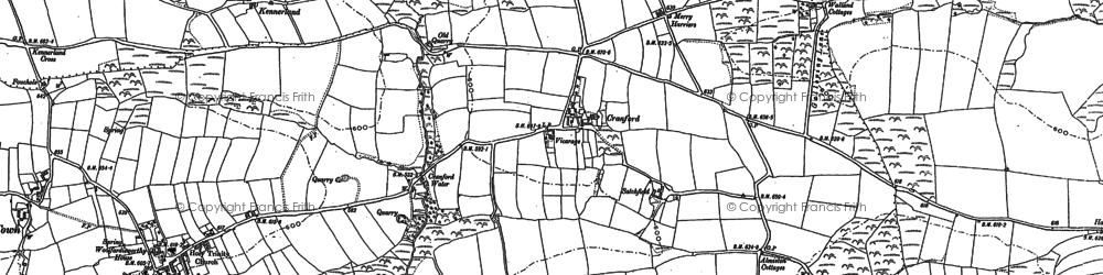 Old map of Alminstone Cross in 1884