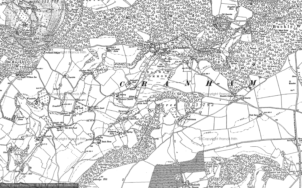Old Map of Historic Map covering Tocknells Court in 1882