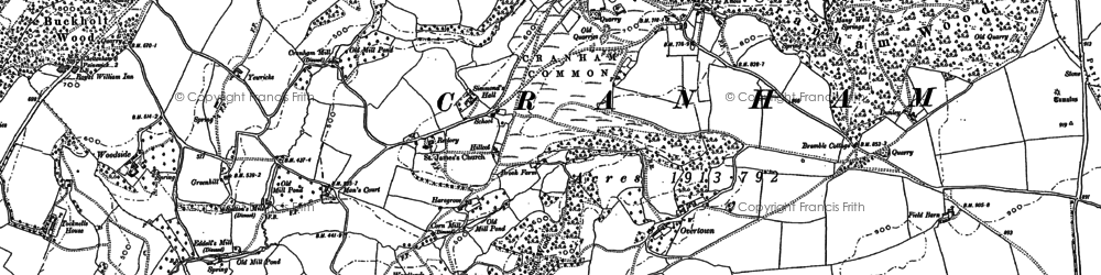 Old map of Tocknells Court in 1882