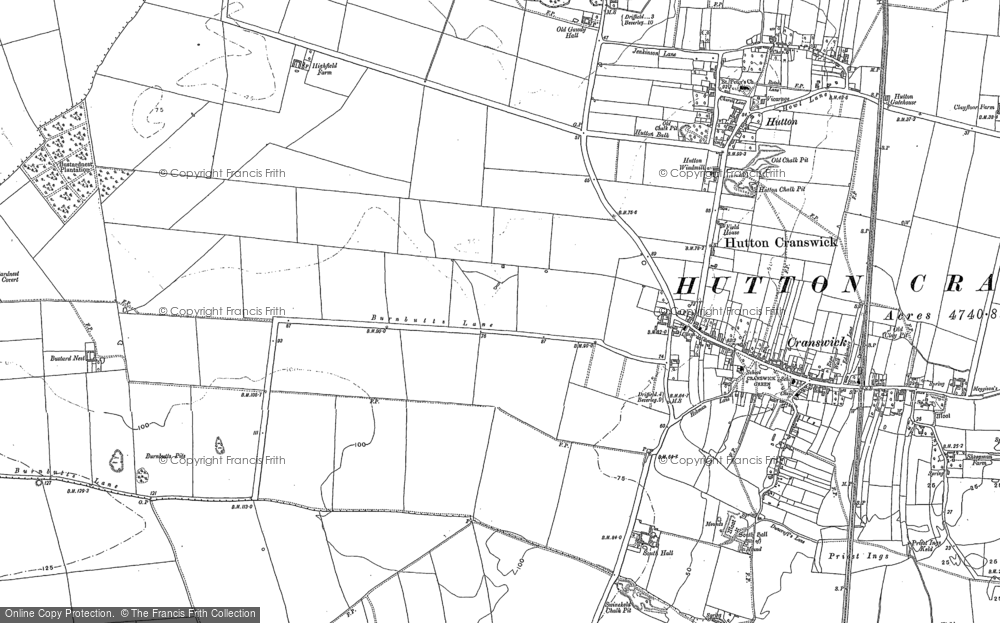 Old Map of Cranswick, 1890 in 1890