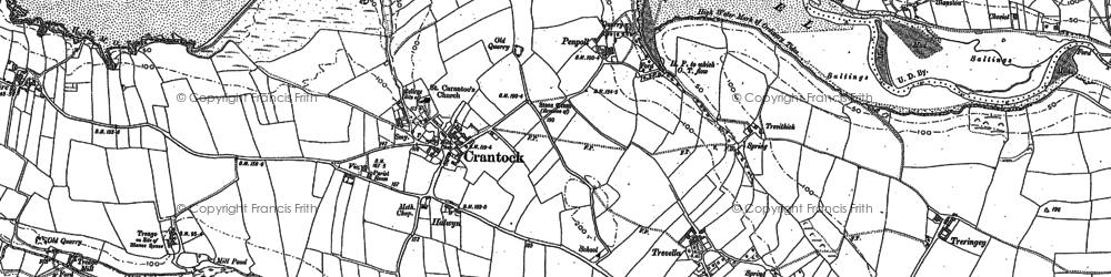 Old map of Crantock in 1906