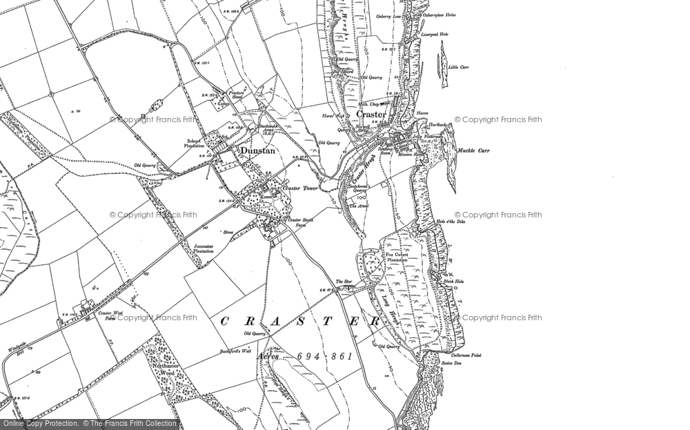 Old Map of Craster, 1896 in 1896