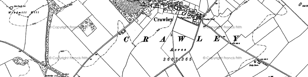 Old map of Crawley in 1894