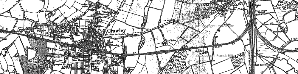 Old map of Crawley in 1895