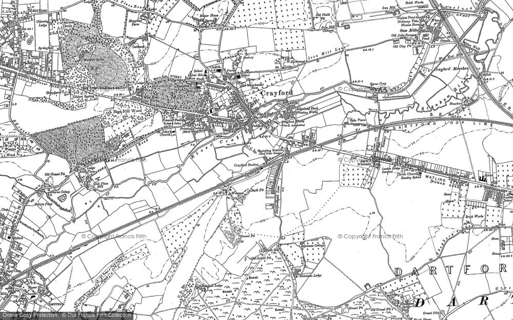 Map of Crayford, 1895 - 1907