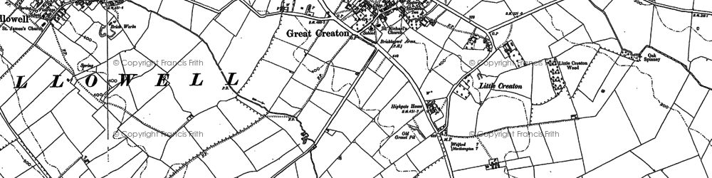 Old map of Creaton in 1884