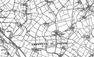 Old Map of Creeting St Peter, 1884