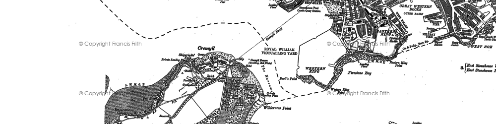 Old map of Cremyll in 1905