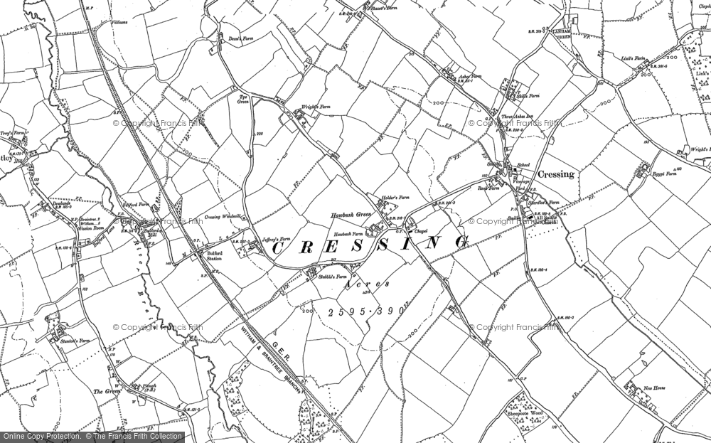 Old Map of Historic Map covering Lanham Green in 1895