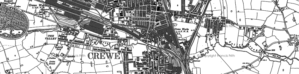 Old map of Crewe in 1897