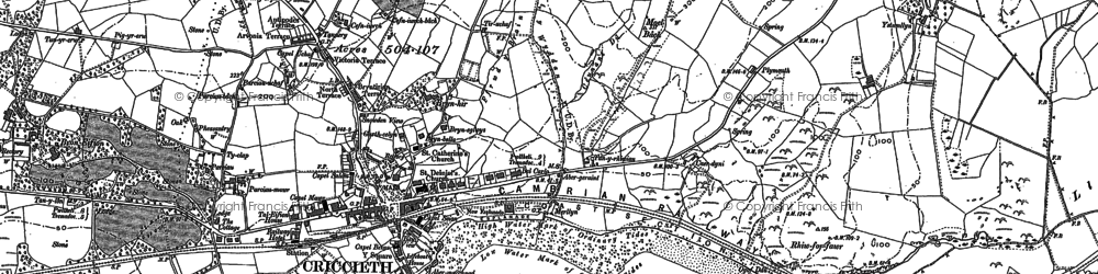 Old map of Criccieth in 1888