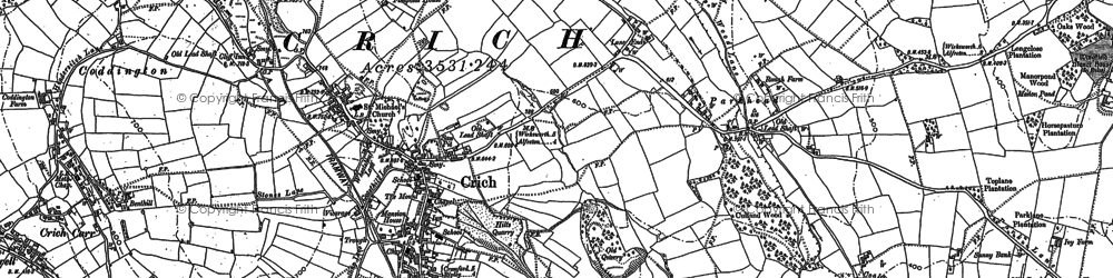 Old map of Crich in 1879
