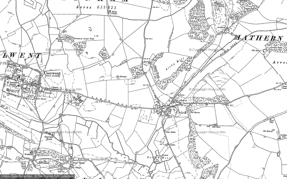 Old Map of Historic Map covering Ballan Moor in 1900