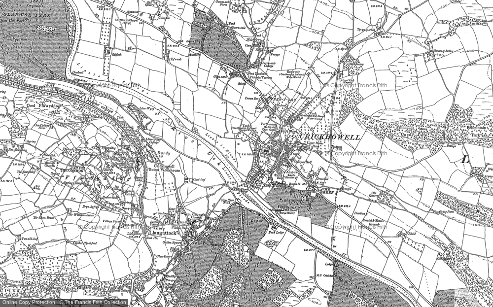 Old Map of Historic Map covering Ashby's Castle in 1885