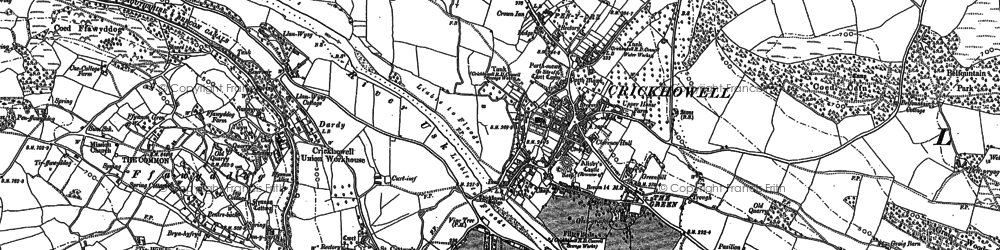 Old map of Crickhowell in 1885