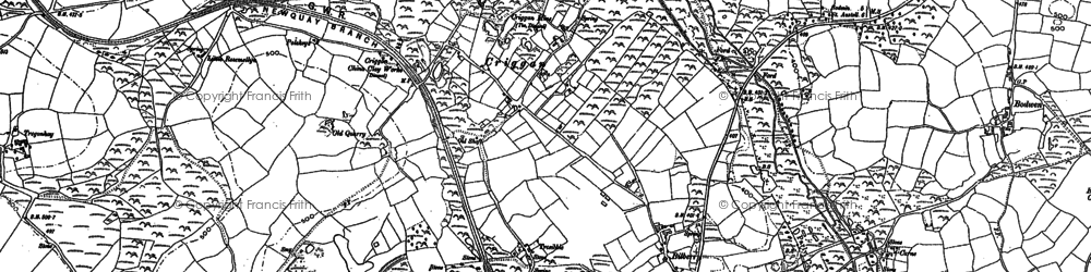 Old map of Higher Town in 1881