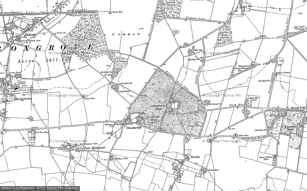 Old Map of Historic Map covering Aldingbourne Ho in 1896