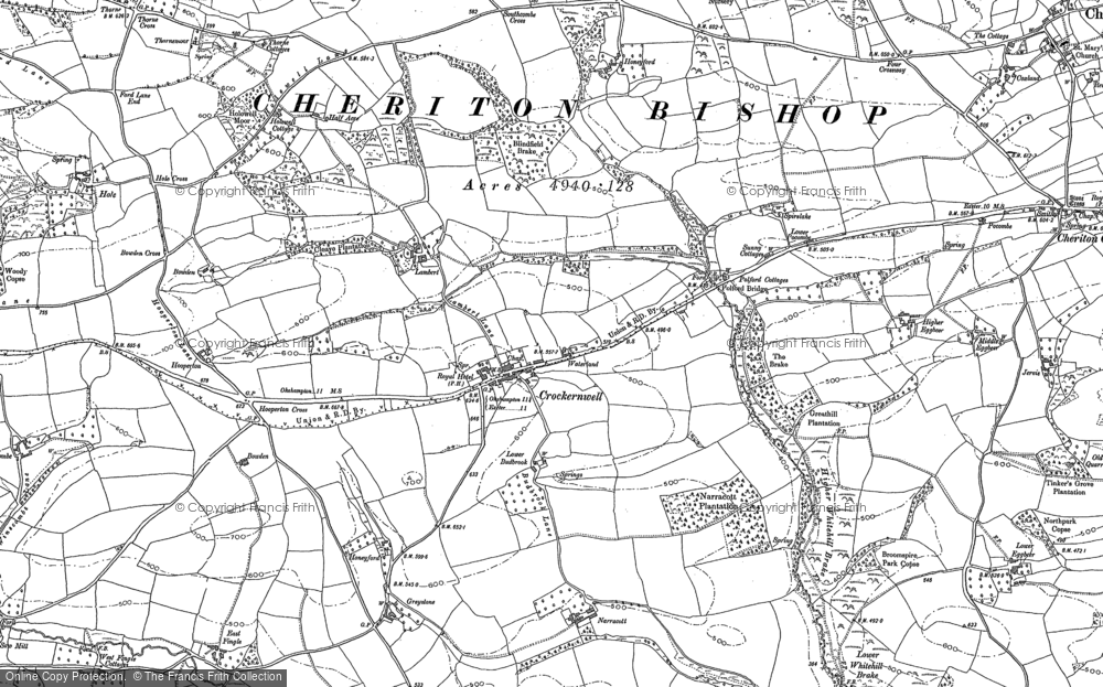 Old Map of Historic Map covering Woodbrooke in 1884