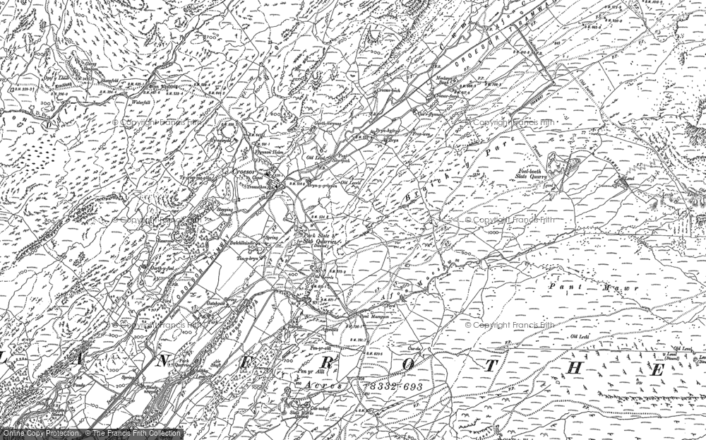 Old Map of Historic Map covering Afon Croesor in 1899