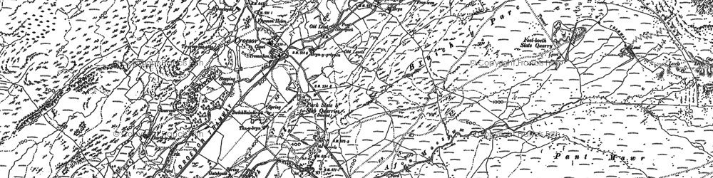Old map of Afon Croesor in 1899