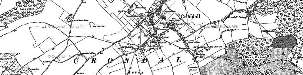 Old map of Crondall in 1909