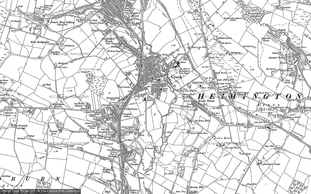 Old Map of Crook, 1896 in 1896