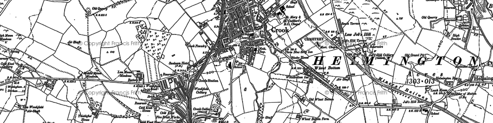 Old map of Crook in 1896