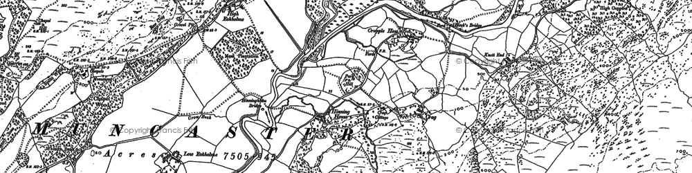 Old map of Linbeck Gill in 1897