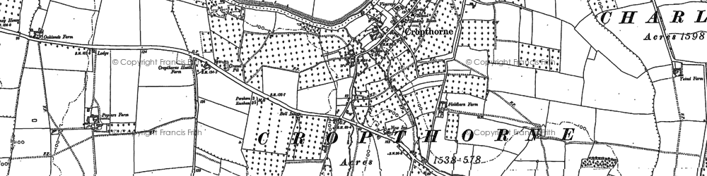 Old map of Cropthorne in 1884
