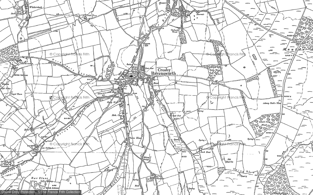 Old Map of Historic Map covering Lane Head in 1897